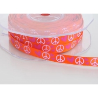 Dekoband  Peace - pink auf orange