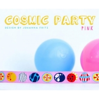 Farbenmix-Webband Cosmic Party - pink