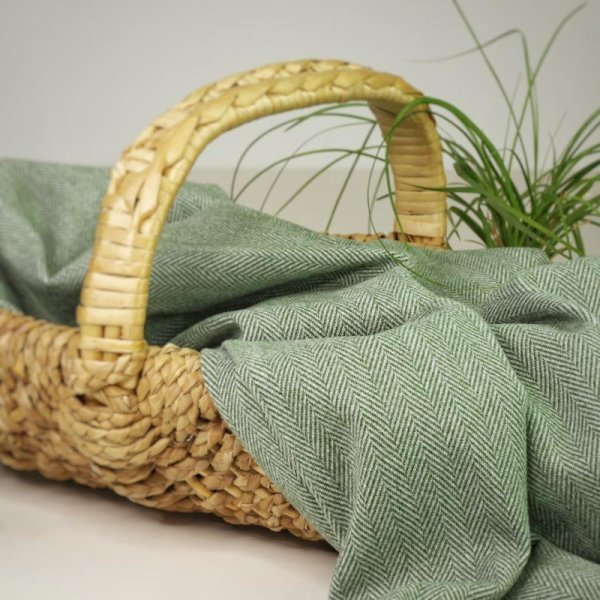 Jacken/Mantelstoff Herringbone - green