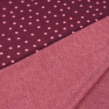 Jacquard-Jersey - Punkte auf Pflaume